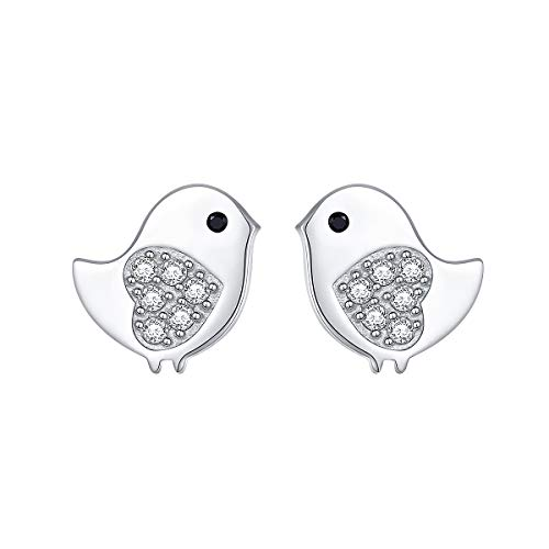 925 Sterling Silver Hypoallergenic Cute Animal Bird Stud Earrings for Women Girls Birthday Gift (Bird)