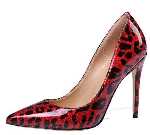 (AOOAR Women's Glitter Crimson Leopard Patent Dress Pumps 7.5 M US)