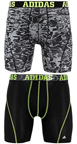 adidas Men's Sport Performance Climacool Boxer Briefs Underwear (2-Pack), Black Ponder Print/Semi Solar Slime | Black/Semi Solar Slime, Large