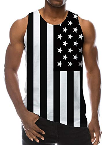 Loveternal Mens Cool Tank Top 3D Printed Patterns Graphics Tees Sleeveless Black White O-Neck Vest Casual Workout Underwaist XL