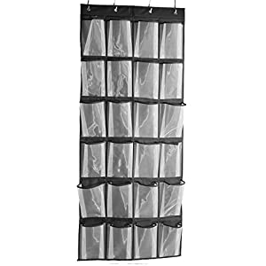 Misslo Sturdy Hanging Over the Door Shoe Organizer with 24 Large Mesh Pockets (Black)