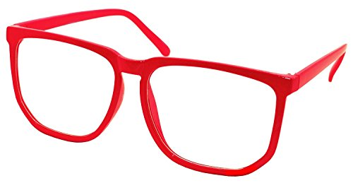 Velma Costume (FancyG Retro Vintage Inspired Classic Nerd Square Clear Lens Glasses Frame - Red)