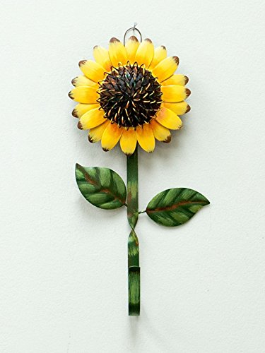 Single Wall Hook With Sunflower Design, Rustic Vintage Metal Key Hook Wall Hanger, Decorative Gift Idea (Sunflower)