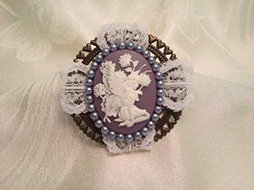 Cameo Jewelry Fairy Butterfly Cameo brooch pin Purple White lace