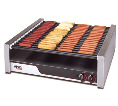 APW Wyott Tru Turn Surface Flat HotRod Hot Dog Roller Grill - 18 Roller, 8 1/2 x 34 3/4 x 29 9/16 inch -- 1 each.