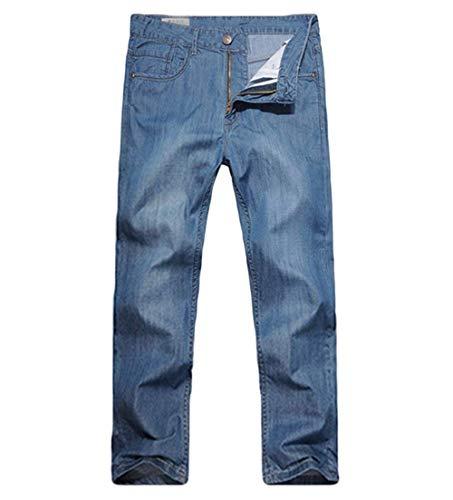 Stile Estivi Casual Mittenblau Retrò Cowboy Dritti Mens Denim Jeans Ssige Slim Larghi Da Fit Tee Pantaloni In tp7ZO7aqw