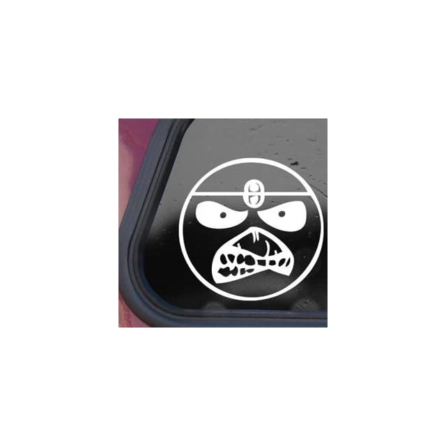 Smile Face Eddie Iron Maiden Band White Decal Sticker Wall White Decal Sticker