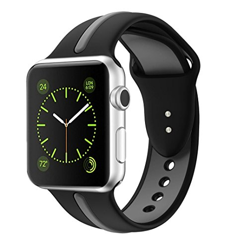 Snap Watch Series (Soft Silicone Watch Band for Apple iWatch Sports/Editions Series 3/ Series 2/Series 1 Sport Style Replacement Watchband Strap Stripe Contrast Color Wristbands 38mm Black and Space Grey)