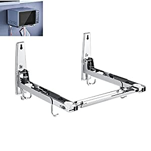 Microwave Oven Wall Mount Holder Bracket Shelf Rack 304 Stainless Steel Foldable Stretchable With Removable Hook