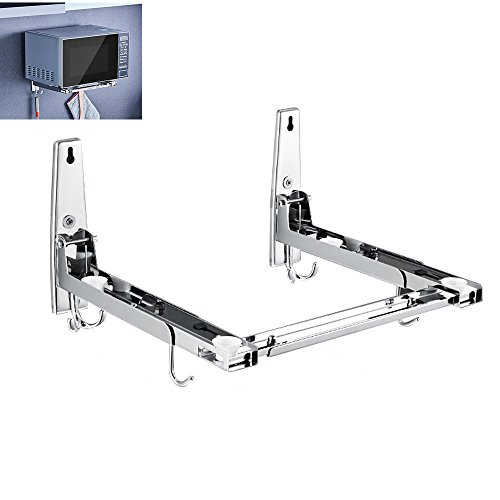 Microwave Oven Wall Mount Holder Bracket Shelf Rack 304 Stainless Steel Foldable Stretchable With Removable Hook (Steel Microwave Mount Stainless Wall)