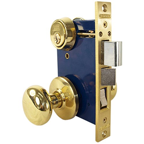 - Marks 22AC/3-W-LH Polished Brass Left Hand Ornamental Knob Rose Mortise Entry Iron Gate Door Double Cylinder Lock Set 2-1/2