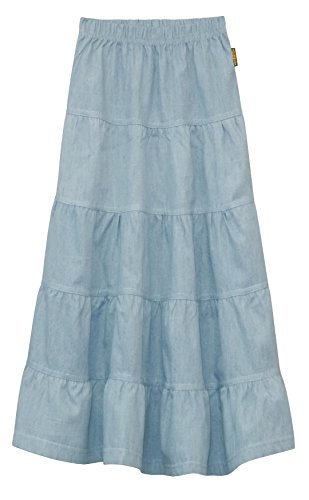 GIRL'S (CHILDREN'S) Ankle Length Long Denim 5 Tiered Skirt (Large, Light Blue)