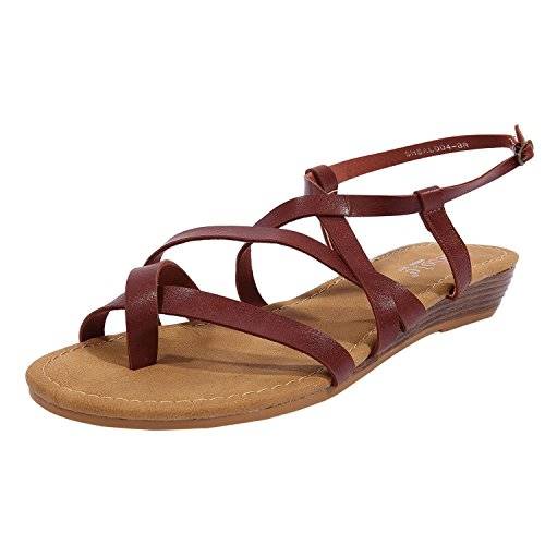 Brown Strappy Dress - SheSole Women's Summer Brown Strappy Gladiator Sandals Flat Shoes US 8