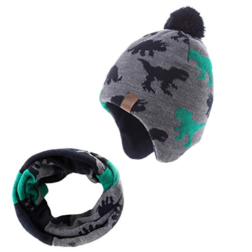 Moon Kitty Baby Boy Hat Cute Dinosaur Infant Toddler Earflap Fleece Lined Beanie Warm Caps for Fall Winter with Scarf