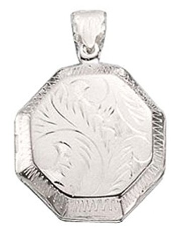 Sterling Silver Girls 16'' .8mm Box Chain Etched Octagon Locket Pendant Necklace by Auntie's Treasures