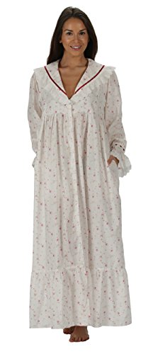 The 1 for U Amelia 100% Cotton Victorian Nightgown with Pockets 7 Sizes (Medium, Vintage Rose)