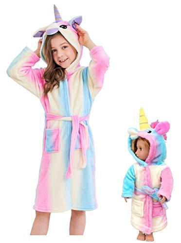 Unicorn Hooded Bathrobe Sleepwear Matching Doll & Girls Gifts (Pink Rainbow, 3-4 Years) ()