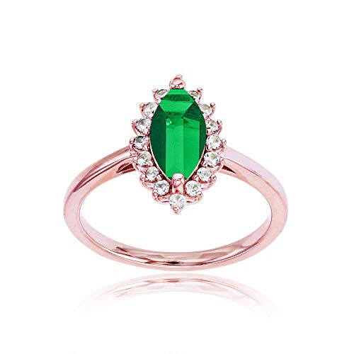 Sterling Silver Rose 10x5 Marquise Created Emerald & Round Created White Sapphire Ring