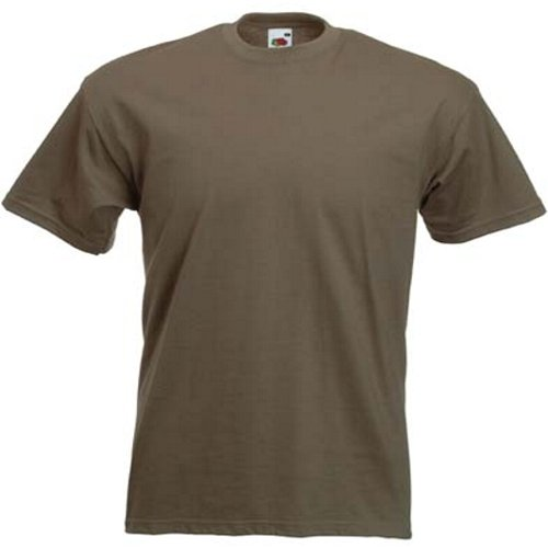 Fruit of the Loom Super Premium T-Shirt - Khaki Large by Fruit of the Loom