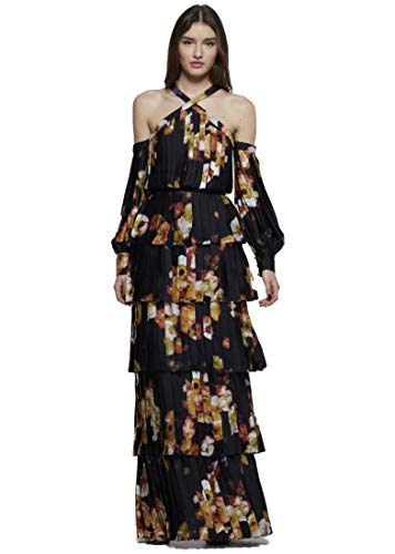 David Meister Gowns - David Meister Women's Long Sleeve Tiered Evening Gown 6 Black Multi