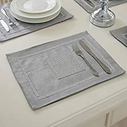12x16 Inches Matching Rhinestones Grey Placemats