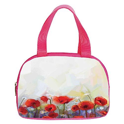 (Personalized Customization Small Handbag Pink,House Decor,Cherry Tree Blossom Cheerful Childish Fun Cartoon Art Garden in Sakura Season,Pink Green Black,for Girls,Personalized Design.6.3