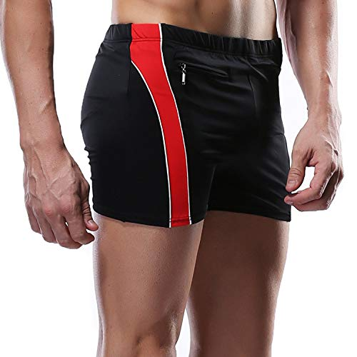 CharmLeaks Men Surf Shorts Elastic Waist Short Athletic Swimwear Jammer Black 3XL