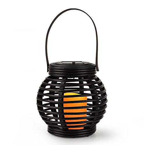 Solar Rattan Lantern with LED Flameless Candles