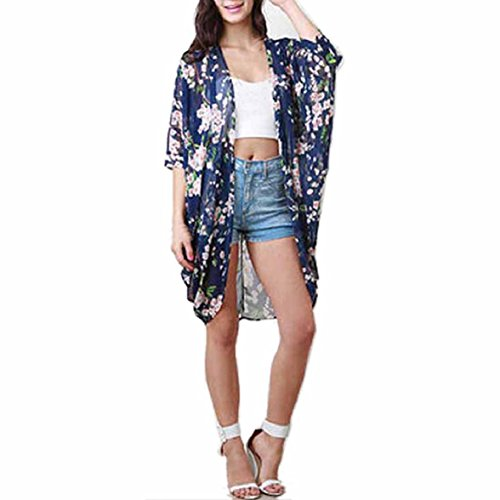 Shensee Featured Printed Half Sleeve Chiffon Kimono Cardigan Coat Tops Blouse (M)
