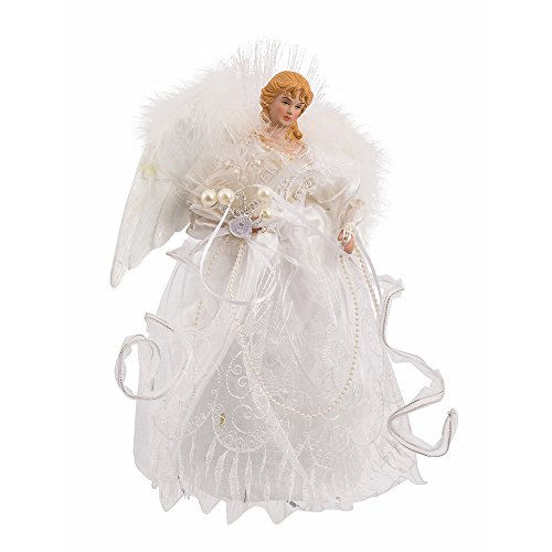 Kurt Adler 12-Inch White and Silver Fiber Optic LED Angel Treetop (Animated Angel Tree Topper With Moving Wings)