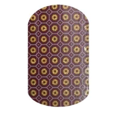 Mosaic Gem - Jamberry Nail Wraps - Full Sheet - Gold Sparkle Tiles on Burgundy Red ()