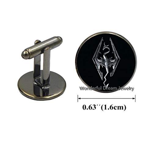 Dome Inspired (Waozshangu Handmade Skyrim Emblem cabochon Dome Inspired, Glass cabochon Dome Cuff Links, Charm Cufflinks Kids Jewellery,PU204 (Gun Black))
