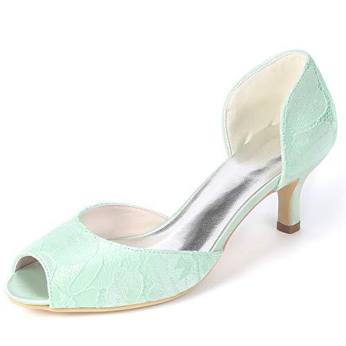 yc Las High amp; Boda Toe L Zapatos 6cm Green Plataforma Fy119 Tacones De Encaje Evening Party Peep Mujeres Heels SwdfIqnI