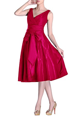 A Dress V bridesmaids Fuchsia line Length Tea Formal Bridesmaid Modest Pleated neck Taffeta qEZpnawxT