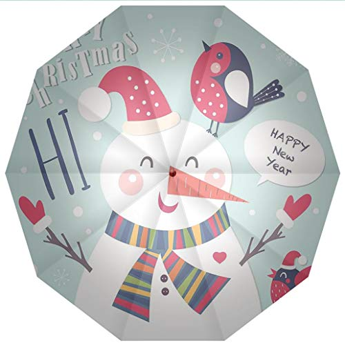 - Compact Travel Umbrella UV Protection Auto Open Close Christmas,Cheerful Merry Xmas Illustration with a Bird and Snowman Fun Winter Windproof - Waterproof - Men - Women -Lightweight- 45 inches