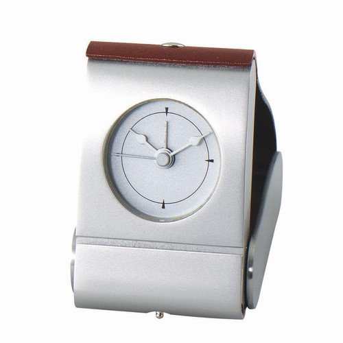 - Silver-Plate & Brown Leather Executive Travel Alarm Desk Clock Computer, Electronics