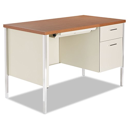 Alera Plus Single Pedestal Steel Desk, Metal Desk, 45 1/4w x 24d x 29-1/2h, Cherry/Putty