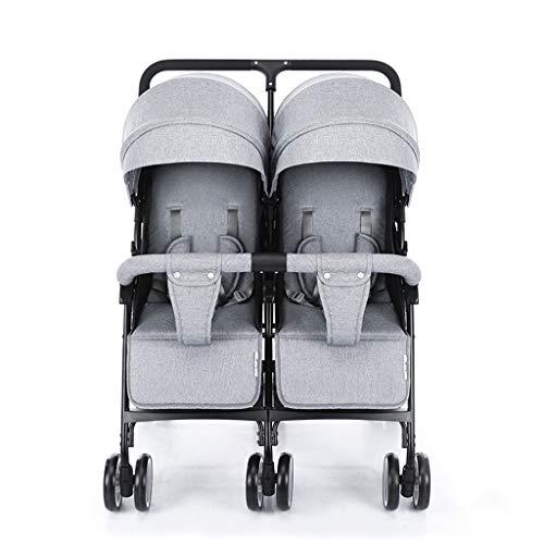 Double Stroller, Twin Tandem Baby Stroller, 5 Points Safety Belts, Foldable Design for Easy Transportation (Color : Gray)