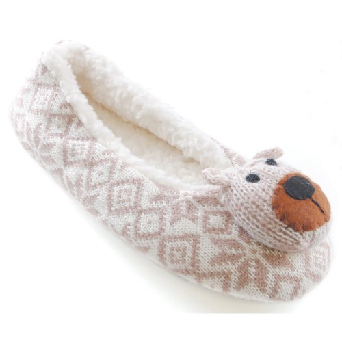 womens-ladies-knit-patterned-novelty-animal-slippers-with-teddy-bear-heads