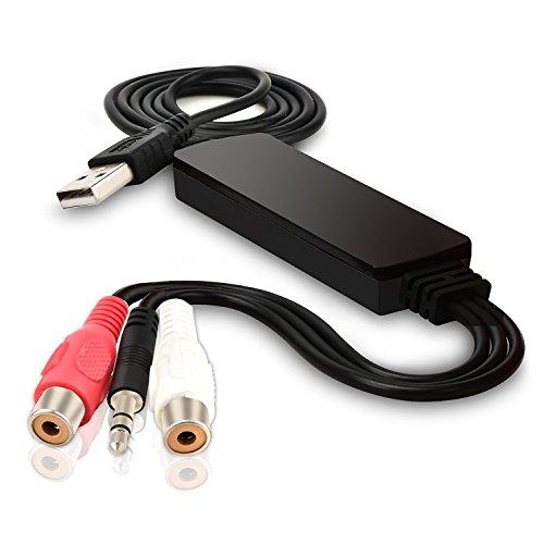 DIGITNOW USB Audio Capture Card Grabber for Vinyl Cassette Tapes to Digital MP3 Converter , Support Mac & Windows 10 / 8.1 / 8 / 7 / Vista / XP
