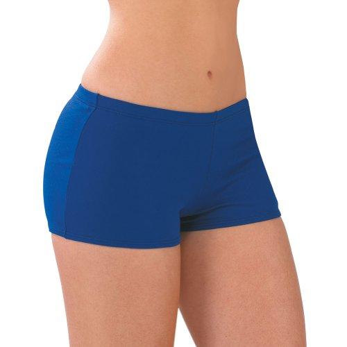 100% Stretch Nylon Low-Rise Boy Cut Cheerleading Brief Trunks, AS, Royal Blue