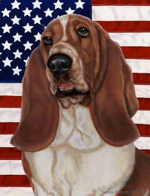 Best of Breed Basset Hound Patriotic II Garden -