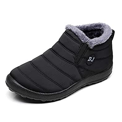 Stunner Women Warm Ankle Snow Boots Fur Lining Thickening Slip On Winter Shoes Black Size: 5.5