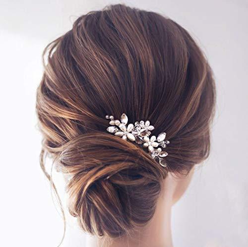 Einfach Braut Kristall Hochzeit Haarnadeln Silber Haarspangen Braut Kopfschmuck Haarschmuck Perle für Frauen und Mädchen (Silber)
