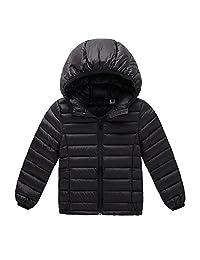 Unisex-baby's Winter Hooded Packable Ultra Light Weight Down Puffer Jacket Outwear