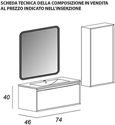 Mueble de baño suspendido moderno Venus blanco puerta relieve, medida 75 cm, con espejo de LED, lavabo y columna: Amazon.es: Hogar