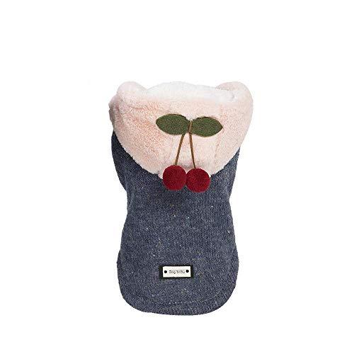 WAEEUSD Pet Autumn Winter Hooded Sweater Small Dog Cotton Coat with Hat Cute Little Cherry Pendant Sweatshirt