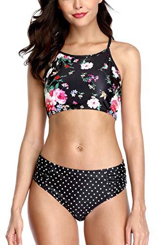 (ALove Polka Dot Bikini Bathing Suit for Women Cross Back Two Piece Swimsuit Black XL)