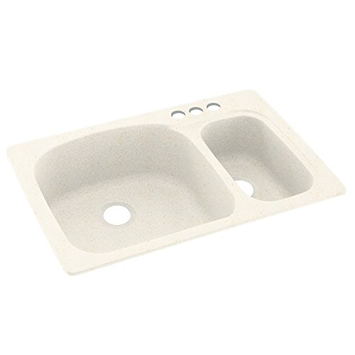 Swanstone KS03322LS.168-3 3-Hole Solid Surface Kitchen Sink,