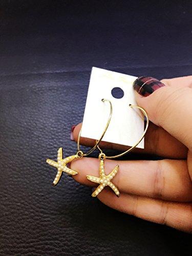 (usongs Korea imported genuine circle Beaded cute starfish earrings Hoop earrings)